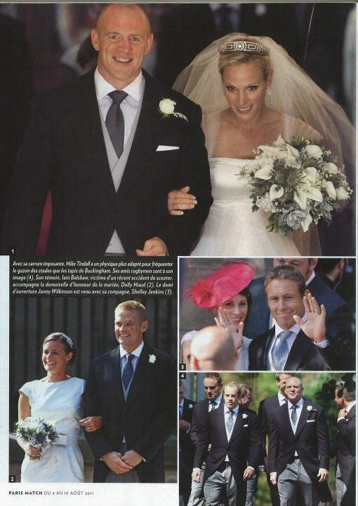 une page de paris match sur le mariage de Zara et Mike Tindall
