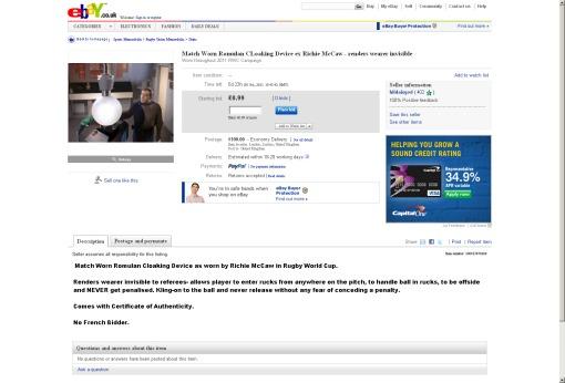 capture écran ebay cape d'invisibilité